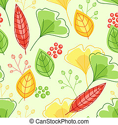 Seamless pattern with green and yellow leaves