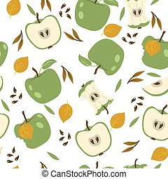 Seamless pattern with green apples on a white background. Vector graphics.