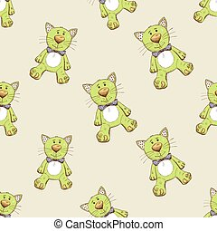 Seamless pattern with green cat