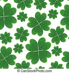 Seamless pattern with green clover leaves.
