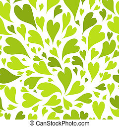 Seamless pattern with green hearts for your design