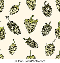 pattern with green hops - Seamless pattern with green hops....