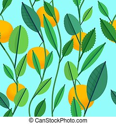 Seamless pattern with green leaves and oranges
