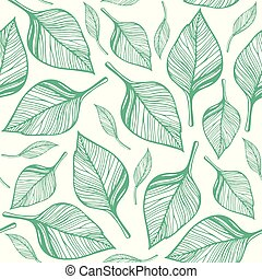 Seamless pattern with green leaves. Hand drawn vector