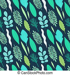 Seamless pattern with green leaves in flat style. Simple shapes. Herbarium. Nature elements