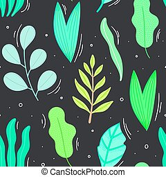 Seamless pattern with green leaves in flat style. Simple shapes. Herbarium. Nature elements. Repeating background