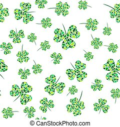 Seamless pattern with green mosaic clover leaves. Modern background with repeating elements for packaging, printing, fabric. Vector