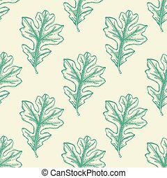 Seamless pattern with green oak leaves.