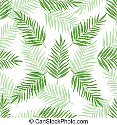 Seamless pattern with green palm leaves
