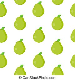 Seamless pattern with green pear in flat style. Vector illustration.