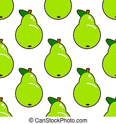 Seamless pattern with green pear on white background. Flat vector illustration