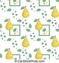 Seamless pattern with green pears and leaves