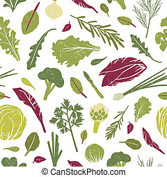 Seamless pattern with green plants, tasty vegetables and...