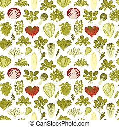 Seamless pattern with green salad plants. Food background....
