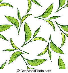 Seamless pattern with green tea leaves