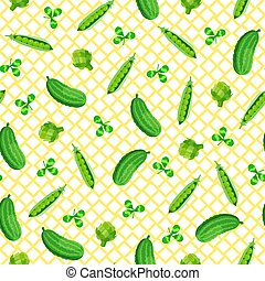 Seamless pattern with green vegetable on white background.