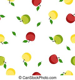 Seamless pattern with green, yellow and red apples on a white background. Vector graphics.