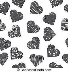 Seamless pattern with grey hearts on white background. Stylish print with hand drawn hearts