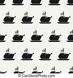 Seamless pattern with grilled chicken