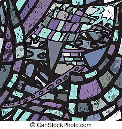 Seamless pattern with grunge cartoon urban style in blue tones