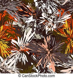 Seamless pattern with grunge stripes radial elements in red, white, orange, yellow, grey colors on brown background