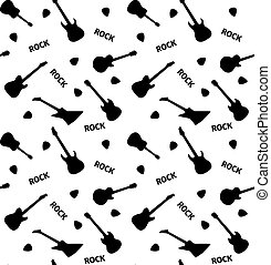 Seamless pattern with guitars on a white background