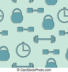 seamless pattern with gym icons - blue background