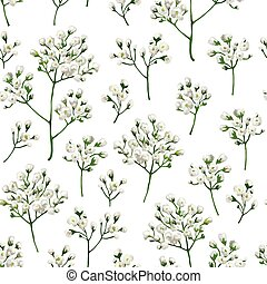 Seamless pattern with gypsophila flowers in watercolor style...