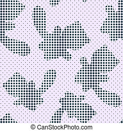 Seamless Pattern with Halftone Cat Silhouettes