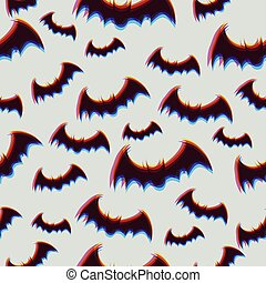 Seamless pattern with halloween bats. Vector graphics.