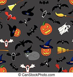 Seamless Pattern with Halloween Elements for Your Design. Pumpkin, Ghost, Cat, Hat, Broom, Coffins. Vector Illustration.