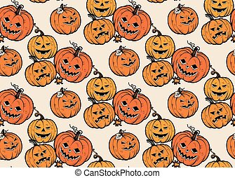 Seamless Pattern with Halloween Pumpkins. Vector.