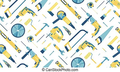 Seamless pattern with hand building tools on a white background. Vector.