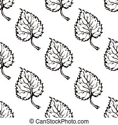 Seamless Pattern with Hand Drawn Aspen Leaves