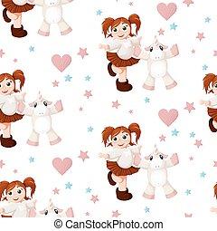 Seamless pattern with hand drawn beautiful cute little girl and unicorn