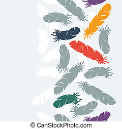 Seamless  pattern with hand drawn bird feathers.