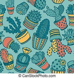 Seamless pattern with hand drawn cactus.