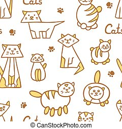 Seamless pattern with hand drawn cats on white background.