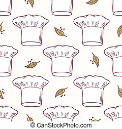 Seamless pattern with hand drawn chef hat. Kitchen background
