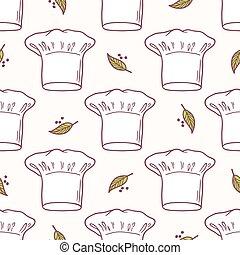 Seamless pattern with hand drawn chef hat. Kitchen background