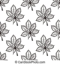 Seamless Pattern with Hand Drawn Chestnut Leaves