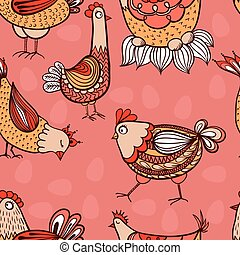 Seamless pattern with hand-drawn chickens and eggs
