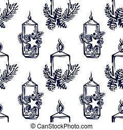 Seamless pattern with hand drawn Christmas candles on white background