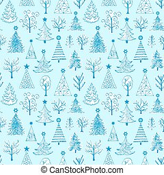 pattern with hand drawn christmas tree