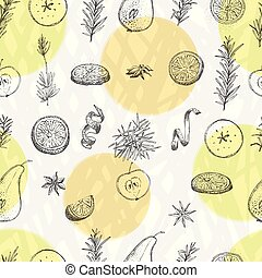 Seamless pattern with hand drawn Christmas winter spices, orange slices, pear, apple, rosemary. Good idea for templates menu, recipes, greeting cards.