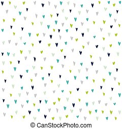 Seamless pattern with hand drawn colorful hearts.