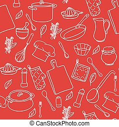 Seamless pattern with hand drawn cookware