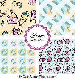 Seamless pattern with hand drawn cupcake.