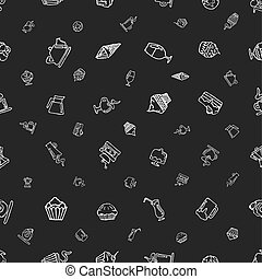 seamless pattern with hand-drawn elements on a coffee theme and desserts