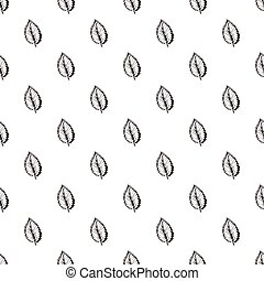 Seamless Pattern with Hand Drawn Elm Leaves